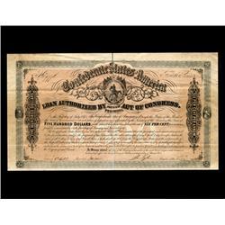 1864 Confederate $500 Bond RARE Hi Grade (CUR-06005)