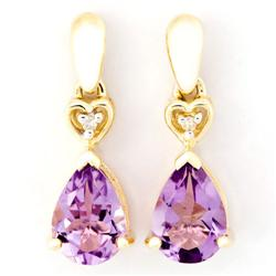1.42Ct Natural Amethyst & Diamond 9K Gold Earrings (JEW-9178X)