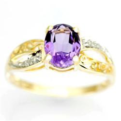 1.58Ct Natural Amethyst & Diamond 9K Gold Ring (JEW-9052X)