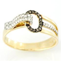 0.46Ct 14 Brown & 32 White Diamond Ring 9K Gold (JEW-9041X)