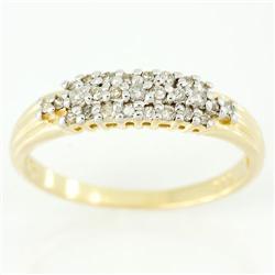 0.34Ct Genuine Natural 27 Diamond Yellow 9K Gold Ring (JEW-9111X)