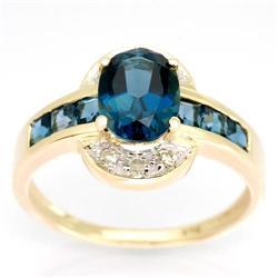 2.60Ct London Blue Topaz & Diamond Ring Yellow 9K Gold (JEW-9035X)