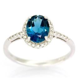 2.05Ct London Blue Topaz 30 Diamond White 9K Gold Ring (JEW-9088X)