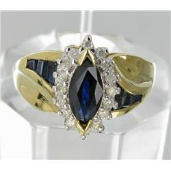 1.6ct Ceylon Blue Sapphire & Diamond 10k Gold Ladies Ring (JEW-1771)