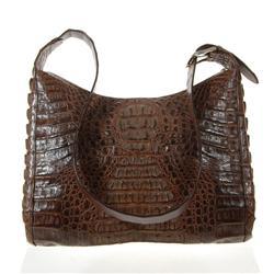 Ladies Dark Brown Crocodile Handbag (ACT-024)