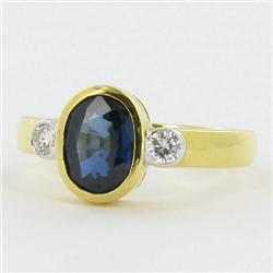1.9ct Ladies Top Blue Sapphire Diamond 18k Ring (JEW-1136)