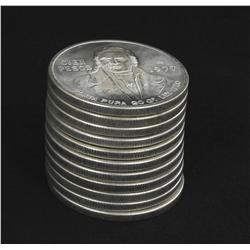 1977 Mexico Silver 100 Pesos Scarce Early Variety Unsearched Stack of 10 Mostly BU 6.2 Ounces Silver