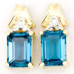 2.60Ct London Blue Topaz & Diamond 9K Gold Earrings (JEW-9113X)