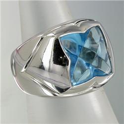 10.4ct Blue Topaz Mens 14k White Gold Ring 17 grams (JEW-1434)