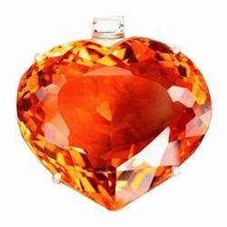314.00ct Sterling Pendant Heart Orange Citrine Big (JEW-1834)