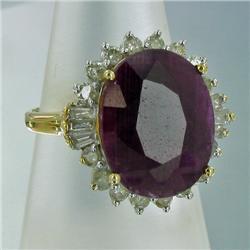16.5ct Ruby and Yellow Diamond Ladies 14k Ring (JEW-1427)