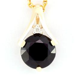 2.50Ct Huge Black Sapphire & Diamond 9K Gold Pendant (JEW-9134X)