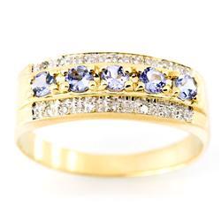0.71Ct Tanzanite & 14 Diamond Yellow 9K Gold Ring (JEW-9129X)