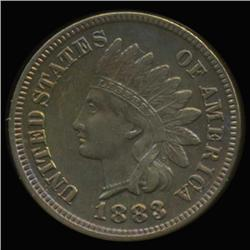 1883 Proof Indian Cent Super Gem Iridescent Toned RARE Repunched 3 (COI-6283)