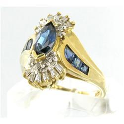 2.6ct Ceylon Blue Sapphire & Diamond 10k Gold Ladies Ring (JEW-1470)