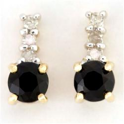 0.88Ct Black Sapphire & Diamond 9K Gold Earrings (JEW-9107X)