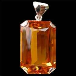 172.70ct Yellow Citrine Emerald White Gold Vermeil Pendant  (JEW-1861)