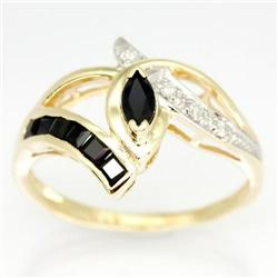 0.89Ct Black Sapphire & Diamond Yellow 9K Gold Ring (JEW-9066X)