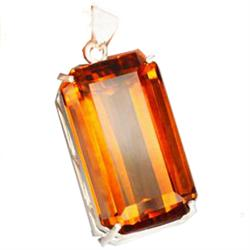 112.57ct Sterling Pendant Emerald Top Orange Citrine (JEW-1845)