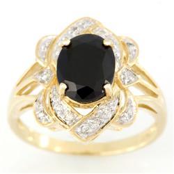 3.02Ct Black Sapphire & 16 Diamond Yellow 9K Gold Ring (JEW-9112X)