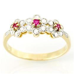 0.66Ct Pink Sapphire & 18 Diamond 9K Gold Ring (JEW-9135X)