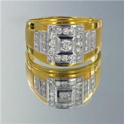 23k Solid Yellow Gold Mens .8ct Diamond Elephant Ring 10 grams (JEW-1433)