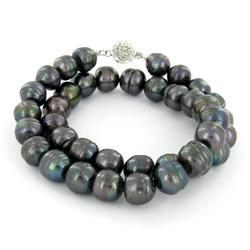 Saltwater Baroque Black Pearl Necklace (JEW-250D)
