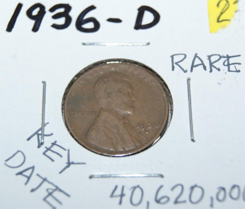 Rare, Key Date 1936-D Lincoln Wheat Penny