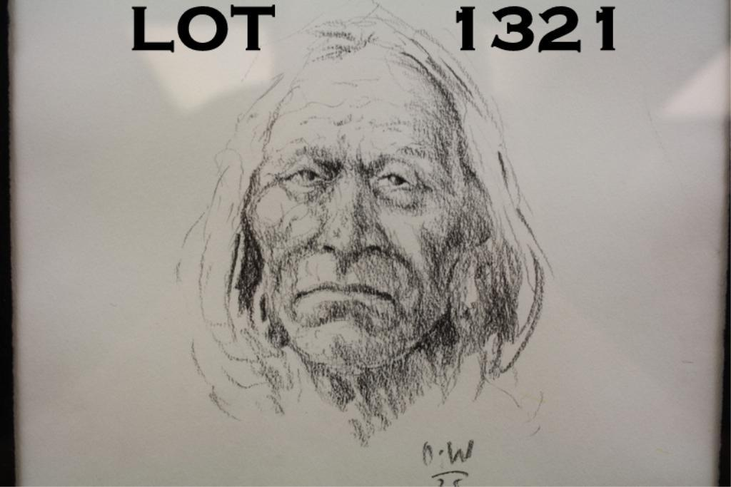 Original Pencil Drawing Of Native Indian By Olaf Weighorst