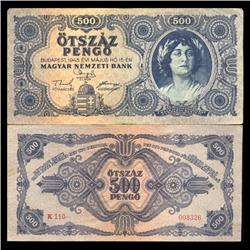 1945 Hungary 500 Pengo Note Hi Grade Scarce (CUR-05652)