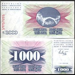 1993 Bosnia 1000 Dinara Note Crisp Unc (COI-3887)