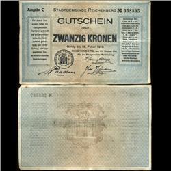 1919 Austria 20 Kronen Reichenberg Note Hi Grade RARE (COI-3943)