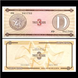 1985 Cuba 3 Peso Foreign Exchange Crisp Uncirculated Note RARE Series D (CUR-05968)