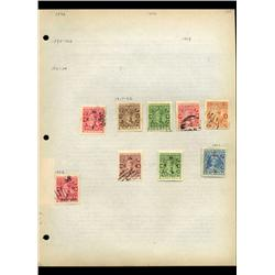 1917 India Cochin Hand Made Stamp Collection Album Page  9 Pieces (STM-0126)