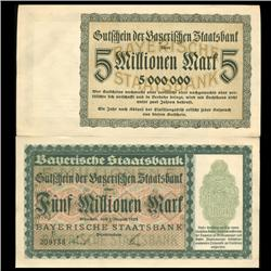 1923 Germany Bavaria State Bank 5000000 Mark Note Uncirculated Rare (CUR-05678)