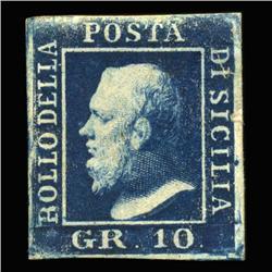 1859 RARE Italy Sicily 10g Postal Stamp Hi Grade MINT (STM-0206)
