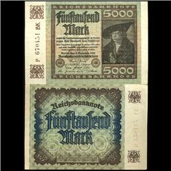 1922 Germany 5000 Mark Note Hi Grade Rare (COI-3941)