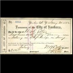 1882 Yonkers NY Bank Draft (COI-3267)
