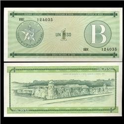 1985 Cuba 1 Peso Foreign Exchange Crisp Uncirculated Note RARE Series B (CUR-05592)