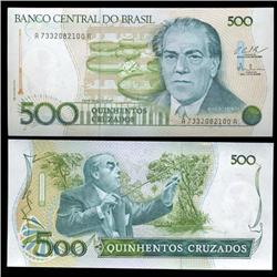 1986 Brazil 500 Crusados Crisp Uncirculated Note (CUR-05576)