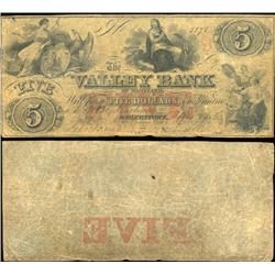 1836 Valley Bank Hagerstown $5 Note Better Grade (CUR-06255)