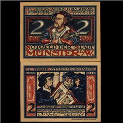 1921 2 Mark Munster Germany RARE Crisp Unc Note (COI-3723)