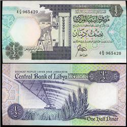 1990 Libya 1/2 Dinar Crisp Unc Note (CUR-05781)