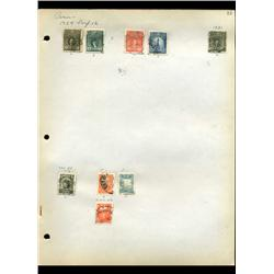 1924 Peru Hand Made Stamp Collection Album Page  9 Pieces (STM-0099)