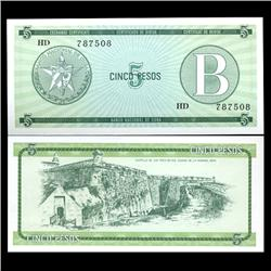 1985 Cuba 5 Peso Foreign Exchange Crisp Uncirculated Note RARE Series B (CUR-05960)