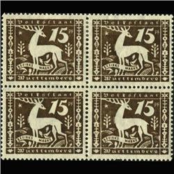 1920 RARE Wurttemberg 15 Pfennig Mint Official Stamp Block of 4 (STM-0356)