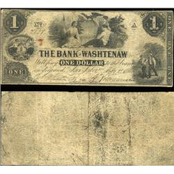 1854 Bank of Washtenaw Ann Arbor $1 Note Better Grade (CUR-06253)