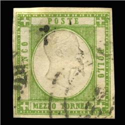 1861 RARE Italy Sicily Neapolitan 1/2t Postal Stamp Hi Grade (STM-0167)