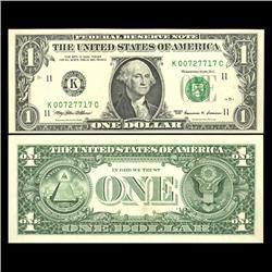 1999 $1 Federal Reserve Note Crisp Unc FANCY NUMBER (CUR-05982)