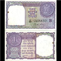 1957 India 1 Rupee Crisp Uncirculated Violet Variety (CUR-06194)
